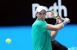 PERTH, Jan. 5, 2018  Vasek Pospisil of Canada hits a return during the match between Canada and Belgium at Hopman Cup mixed teams tennis tournament in Perth, Australia, Jan. 5, 2018. Belgium won the match by 3-0. (Credit Image: © Zhou Dan/Xinhua via ZUMA Wire)