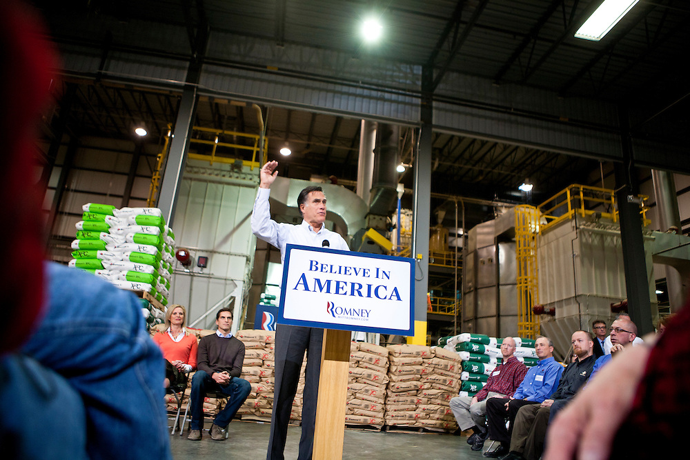 Republican presidential candidate Mitt Romney speaks at a town hall meeting at the Diamond V South Plant on Friday, December 9, 2011 in Cedar Rapids, IA.