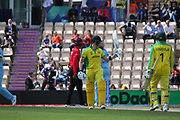 Steve Smith Acknowledges the crowd on reaching 50 during the ICC Cricket World Cup 2019 warm up match between England and Australia at the Ageas Bowl, Southampton, United Kingdom on 25 May 2019.