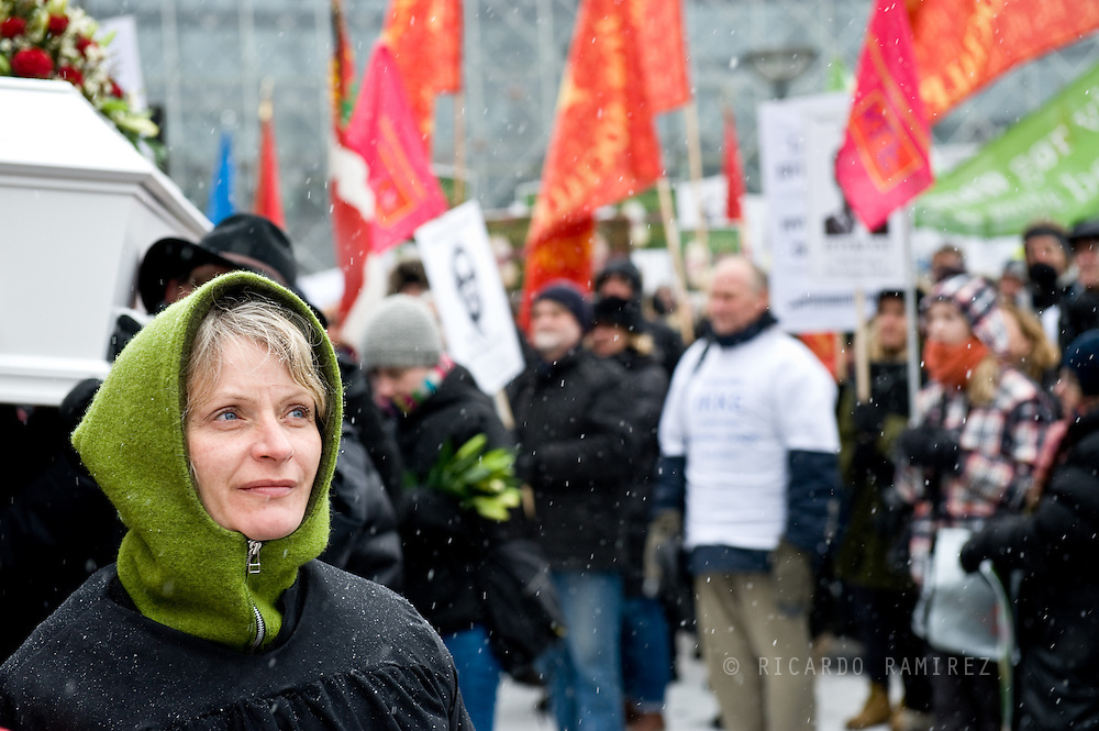 20.03.13. Copenhagen, Denmark..Demonstration of teachers against government's reform outside City Hall in Copenhagen..Photo:© Ricardo Ramirez.