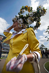 © licensed to London News Pictures. 14/06/2011. Ascot, UK.  Jackie Claridge arriving on day one at Royal Ascot races today (14/03/2011). The 5 day showcase event,  one of the highlights of the racing calendar is in it's 300th year. Horse racing has been held at the famous Berkshire course since 1711 and tradition is a hallmark of the meeting. Top hats and tails remain compulsory in parts of the course. Photo credit should read: Ben Cawthra/LNP