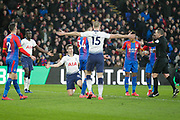 PENALTY Crystal Palace defender Patrick van Aanholt (3) fouls Tottenham Hotspur defender Juan Foyth (21), and Referee Kevin Friend awards a penalty, during The FA Cup fourth round match between Crystal Palace and Tottenham Hotspur at Selhurst Park, London, England on 27 January 2019.
