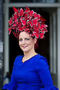 Repro Free: 16/08/2012 Joanne Murphy from Kilgarvan Co Kerry winner of 'Most Creative Hat' at the 'Best Dressed Male' At the Blossom Hill 'Best Dressed Lady'. Blossom Hill Ladies' Day took place at the Dublin Horse Show at the RDS. A fashion filled day, hundreds of ladies turned out for their chance to be crowned this year's Blossom Hill 'Best Dressed Lady'. Fashion expert Brendan Courtney from RTE's 'Off the Rails' was MC at the event and alongside rising Irish Designer (of Lady GaGa fame) Sorcha O'Raghallaigh and TV presenter Lucy Kennedy chose this year's winning look in the Blossom Hill 'Best Dressed Lady' category. The Blossom Hill 'Best Dressed Lady' won an incredible shopping trip to New York worth ?8,000! Other category winners included 'Most Colourful Outfit', 'Best Dressed Male' and 'Most Creative Hat'. Pic Andres Poveda ..For Further info contact:.Breda Brown / Frankie Bannon.Unique Media.Tel: (01) 522 5200 or (087) 7725661 (FB)