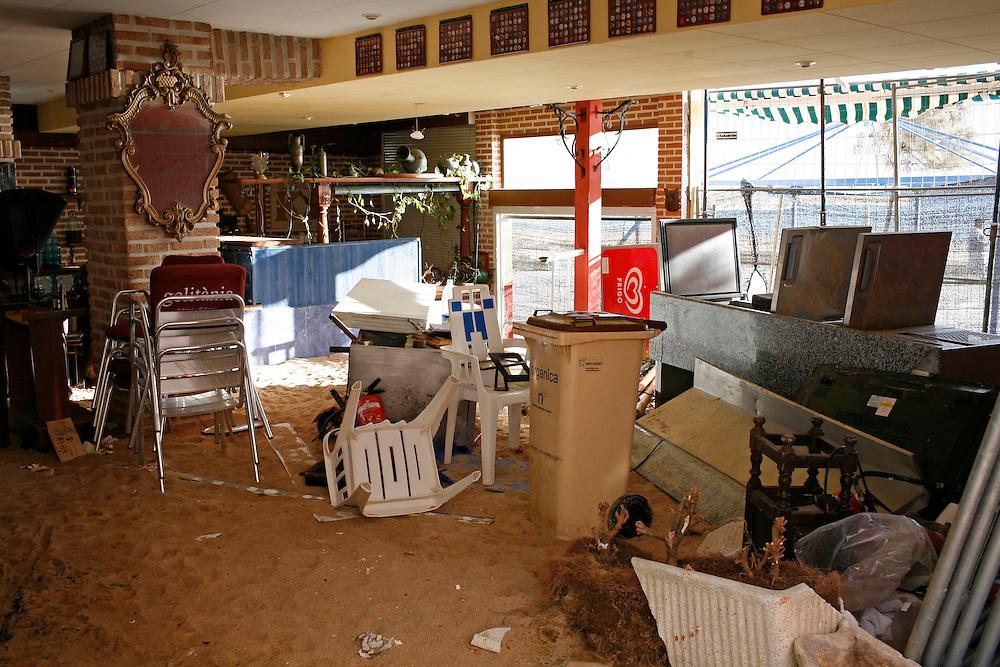 "December, 26th, 2008. Violent ""Levant"" sea storm  hit the northeastern catalan or spanish coast  provoking a blizzard in the interior. .Platja d'Aro (Costa Brava). Catalonia. Spain."