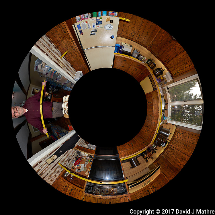 The Kitchen Before Renovation. Little Planet View (from above) of the Kitchen. Composite of 25 images taken every 15 degrees with a Fuji X-T1 camera and 16 mm f/1.4 lens (ISO 400, 16 mm, f/8, 1/60 sec), popup flash. Image processed with Capture One Pro and AutoPano Giga Pro