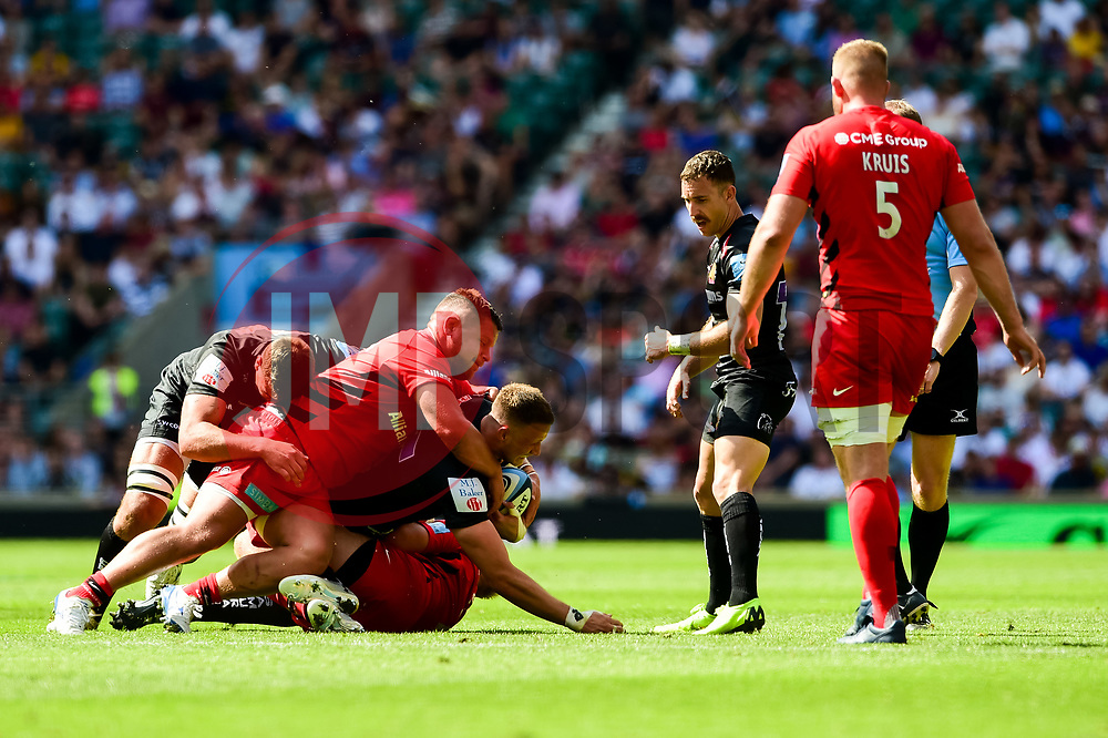 Jonny Hill of Exeter Chiefs is tackled - Mandatory by-line: Ryan Hiscott/JMP - 01/06/2019 - RUGBY - Twickenham Stadium - London, England - Exeter Chiefs v Saracens - Gallagher Premiership Rugby Final