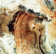 Multispectral scanner reveals lithologic and structural features of Great Namaland in Namibia with clarity. Area extremely dry with little vegetation, so geology dominates image. Photographed from Landsat-1 19 December 1972. NASA photograph.