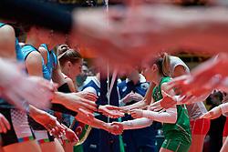 09–01-2020 NED: Olympic qualification tournament women, Apeldoorn<br /> Bulgaria - Azerbaijan / Radostina Marinova #19 of Bulgaria, handshaking