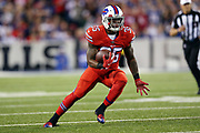 Buffalo Bills running back Mike Gillislee (35) runs with the ball after catching a second quarter pass called back due to a flag on the play during the 2016 NFL week 2 regular season football game against the against the New York Jets on Thursday, Sept. 15, 2016 in Orchard Park, N.Y. The Jets won the game 37-31. (©Paul Anthony Spinelli)