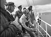 Round Europe Yacht Race.   (R61)..1987..25.07.1987..07.25.1987..25th July 1987..President Patrick Hillery started the Round Europe Yacht Race which began at Dun Laoghaire today,