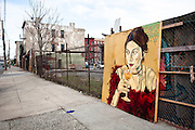 A painting of a lady and a cocktail glass on Conover Street, Red Hook, Brooklyn