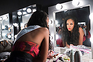 LOS ANGELES, CA - OCTOBER 22, 2016:  <br /> <br /> Quei Tann (Nevada) has a reflective moment backstage at the Transnation Queen USA 2016 pageant, a transgender beauty pageant held at The Theater at The Ace Hotel in downtown Los Angeles.<br /> <br /> (Melissa Lyttle for The Guardian)