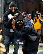 "Baltimore Ravens linebacker Ray Lewis looks on as wide receiver/kick returner Jacoby Jones does ""the squirrel"" at the teams Super Bowl XLVII Celebration at M&T Bank Stadium on Tuesday, February 5, 2013 in Baltimore, MD."