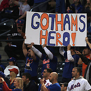 Fans with a sign watching pitcher Matt Harvey, New York Mets, during the New York Mets Vs Philadelphia Phillies MLB regular season baseball game at Citi Field, Queens, New York. USA. 14th April 2015. Photo Tim Clayton