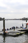 London. Great Britain, General Views. Crews Boating at Sons of the Thames Boathouse and slipway. 2010 Women's Head of the River Race, Raced over the reverse Championship Course, Chiswick to Putney, River Thames, England,  Saturday   13/03/2010 [Mandatory Credit. Peter Spurrier/Intersport Images].