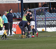 16th December 2017, Dens Park, Dundee, Scotland; Scottish Premier League football, Dundee versus Partick Thistle; Dundee's Sofien Moussa celebrates after scoring with Dundee manager Neil McCann