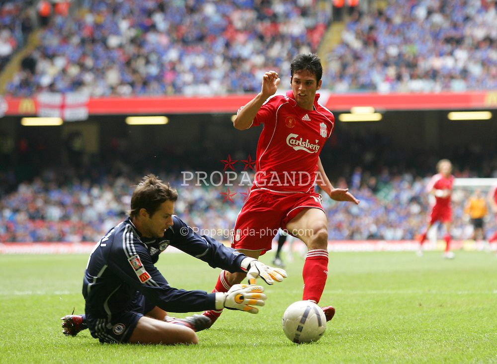 CARDIFF, WALES - SUNDAY, AUGUST 13th, 2006: Liverpool's Mark Gonzalez and Chelsea's goalkeeper Carlo Cudicini during the Community Shield match at the Millennium Stadium. (Pic by David Rawcliffe/Propaganda)