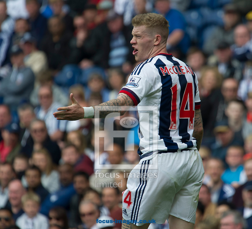James McClean of West Bromwich Albion complains after receiving a yellow card during the Barclays Premier League match at The Hawthorns, West Bromwich<br /> Picture by Anthony Stanley/Focus Images Ltd 07833 396363<br /> 15/05/2016