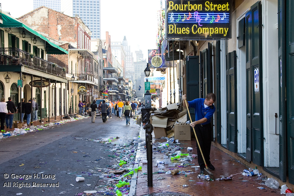 Trash on the streets of the French Quarter early on Mardi Gras.