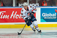 KELOWNA, BC - OCTOBER 12: Matthew Seminoff #13 of the Kamloops Blazers warms up with the puck against the Kelowna Rockets at Prospera Place on October 12, 2019 in Kelowna, Canada. (Photo by Marissa Baecker/Shoot the Breeze)