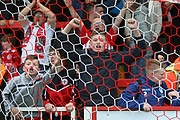Young Accrington fans celebrate at the final whistle during the EFL Sky Bet League 2 match between Accrington Stanley and Mansfield Town at the Fraser Eagle Stadium, Accrington, England on 19 August 2017. Photo by John Potts.