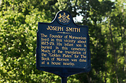 An historic marker plaque at the Church of Jesus Christ of Latter Day Saints Priesthood Restoration Site in Susquehanna, PA, Thursday, July 21, 2016. The site, which was errected and opened in 2015 and has seen 25,000 visitors to date, and is where Joseph Smith translated the Book of Mormon.<br /> CREDIT: Heather Ainsworth for The Wall Street Journal