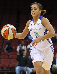 June 3, 2012; Newark, NJ, USA; New York Liberty guard Leilani Mitchell (5) dribbles the ball during the first half of their game against the Indiana Fever at the Prudential Center.