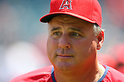 ANAHEIM, CA - AUGUST 24:  Team Manager Mike Scioscia #14 of the Los Angeles Angels of Anaheim talks to fans during Family Photo Day during the game against the Minnesota Twins at Angel Stadium on August 24, 2008 in Anaheim, California. The Angels defeated the Twins 5-3. ©Paul Anthony Spinelli *** Local Caption *** Mike Scioscia