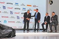 (L to R): Dr. Vijay Mallya (IND) Sahara Force India F1 Team Owner with Carlos Slim Domit (MEX) Businessman; Francisco Maass Pena (MEX) Deputy Minister for Tourism; Alejandro Soberon (MEX) Corporacion Interamericana CEO.<br /> Sahara Force India F1 Team Livery Reveal, Soumaya Museum, Mexico City, Mexico. Wednesday 21st January 2015.