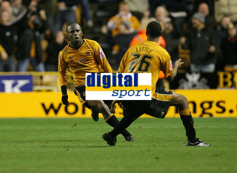 Photo: Rich Eaton.<br /> <br /> Wolverhampton Wanderers v Sunderland. Coca Cola Championship. 24/11/2006. Jemal Johnson left of Wolves ceebrates his first half goal with teammate Mark Little right