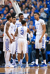 Kentucky forward Skal Labissiere, right, talks with his teammates in a huddle in the second half.<br /> <br /> The University of Kentucky hosted the University of Georgia, Tuesday, Feb. 09, 2016 at Rupp Arena in Lexington .