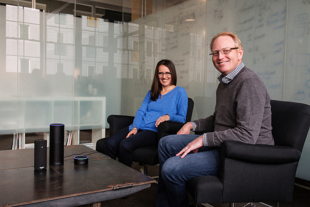 SEATTLE, WASHINGTON - March 8, 2016<br /> <br /> Toni Reid (Director, Amazon Echo and Alexa) and Dave Limp (Senior Vice President, Amazon Devices) at the Amazon offices in the &quot;Stackhouse&quot; building in Seattle, Washington. In foreground are the Amazon Tap, Echo and Echo Dot devices.<br /> <br /> Credit: Matt Lutton / Boreal Collective for The New York Times