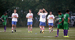 27 June 2015. New Orleans, Louisiana.<br /> National Premier Soccer League. NPSL. <br /> Jesters 1- Georgia Revolution 5.<br /> Georgia scores and celebrates one of many goals as the New Orleans Jesters lose 1-5 to the Georgia Revolution in a lightning delayed game at home in the Pan American Stadium. <br /> Photo©; Charlie Varley/varleypix.com