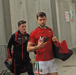 Mayo players Fergal Boland and Ger Cafferkey arriving at McHale park.<br />