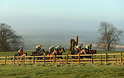 © Licensed to London News Pictures. 22/01/2014. Somerset, UK Riders from Paul Nicholls Racing on the gallop at Ditcheat in Somerset this morning 22 January 2014. Photo credit : Jason Bryant/LNP
