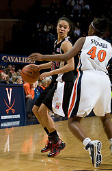 Maryland guard Kristi Toliver (20) is guarded by Virginia guard Enonge Stovall (40).  The Virginia Cavaliers women's basketball team fell to the #4 ranked Maryland Terrapins 74-62 at the John Paul Jones Arena in Charlottesville, VA on January 18, 2008.