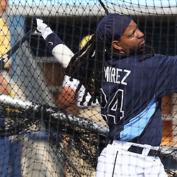 March 15, 2011; Port Charlotte, FL, USA; Tampa Bay Rays left fielder Manny Ramirez (24) takes batting practice before a spring training exhibition game against the Florida Marlins at Charlotte Sports Park.   Mandatory Credit: Derick E. Hingle