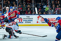 KELOWNA, CANADA - FEBRUARY 17: Erik Gardiner #12 of the Kelowna Rockets blocks a shot by the Edmonton Oil Kings  on February 17, 2018 at Prospera Place in Kelowna, British Columbia, Canada.  (Photo by Marissa Baecker/Shoot the Breeze)  *** Local Caption ***