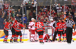 Mar 27, 2014; Newark, NJ, USA; The New Jersey Devils celebrate a goal by New Jersey Devils left wing Ryane Clowe (29)] during the second period at Prudential Center.
