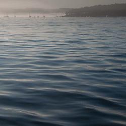 Boats in Fog Across Castine Harbor, Castine, Maine, US