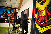OSTERSUND, SWEDEN - APRIL 20: During a press conference with Daniel Kindberg, president of Ostersunds FK, following recent allegations of financial impropriety, at Jamtkraft Arena on April 20, 2018 in Ostersund, Sweden.  Photo: Nils Petter Nilsson/Ombrello ***BETALBILD***