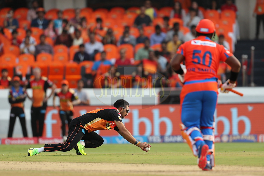 Bipul Sharma of the Sunrisers Hyderabad fields from his own bowling during match 6 of the Vivo 2017 Indian Premier League between the Sunrisers Hyderabad and the Gujarat Lions held at the Rajiv Gandhi International Cricket Stadium in Hyderabad, India on the 9th April 2017<br /> <br /> Photo by Ron Gaunt - IPL - Sportzpics