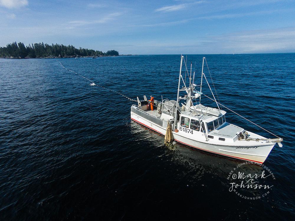 Gill Netting for salmon off of Sitka, Sitka Sound, Southeast Alaska, USA