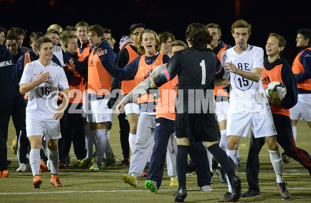 CB East players celebrate after defeating Conestoga 2-1 to win the District One AAA Boys Soccer Championship Saturday November 7, 2015 in Souderton, Pennsylvania.  (Photo by William Thomas Cain)