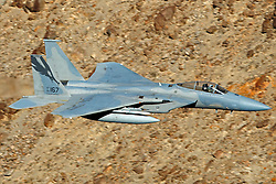 McDonnell Douglas F-15C Eagle from the California Air National Guard, USAF 144th Fighter Wing, flies low level through the Jedi Transition, Star Wars Canyon, Death Valley National Park, California, United States of America