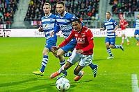 ALKMAAR - 16-04-2016, AZ - PEC Zwolle, AFAS Stadion, 5-1,  PEC Zwolle speler Bart Schenkeveld  brengt AZ speler Dabney dos Santos Souza ten val, penalty.
