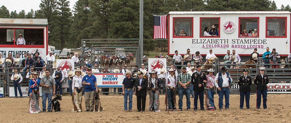 Grand entry of the third performance of the Elizabeth Stampede on Sunday, June 3, 2018.