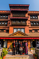 Staff members outside the Hotel Heritage, Bhaktapur, Kathmandu Valley, Nepal.
