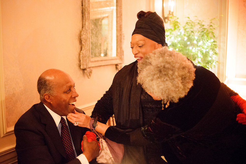 "Photo by Matt Roth.Assignment ID: 10137379A..Charlayne Hunter-Gault, foreground and Opera soprano Jessye Norman tease Vernon Jordan, one of the co-hosts of an inaugural ""Bi-Partisan Celebration"" hosted by Buffy and Bill Cafritz, Ann and Vernon Jordan, Vicki and Roger Sant threw at the Dolley Madison Ballroom at the Madison Hotel in Washington, D.C. on Monday, January 21, 2013."