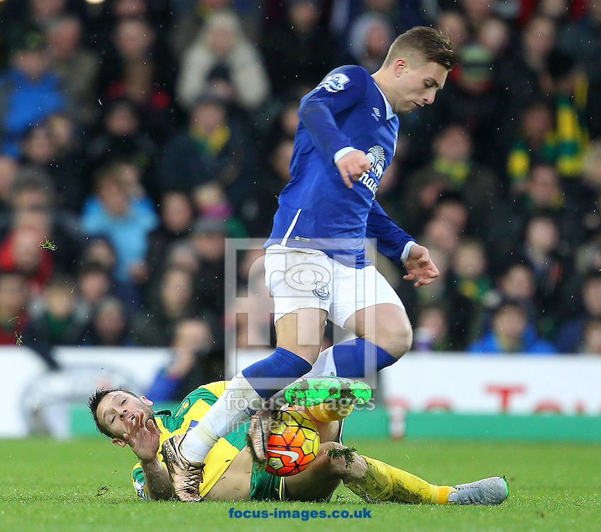 Wes Hoolahan of Norwich and Gerard Deulofeu of Everton in action during the Barclays Premier League match at Carrow Road, Norwich<br /> Picture by Paul Chesterton/Focus Images Ltd +44 7904 640267<br /> 12/12/2015
